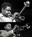Roy Eldridge and Dizzy Gillespie playing trumpet